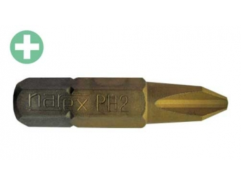 830252-Puntas PH2 TITANIO phillips, caja 10pz. tornillar melamina Narex 830252-1.
