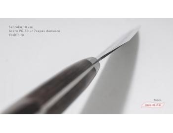 HAAs18-Cuchillo Santoku 18 cm acero VG-10+damasco Yoshihiro HAAs18-5.