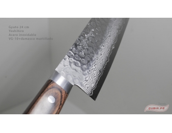 HAAg24-Cuchillo Gyuto 24cm acero VG-10+damasco Yoshihiro HAAg24-3.