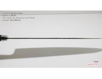 B9g24-Cuchillo Gyuto 24cm acero 1.4528+damasco Palo Rosa B9g24-5.