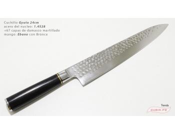 B1zEg24-Cuchillo Gyuto 24cm acero 1.4528+damasco Ebano+Bronce B1zEg24-1.