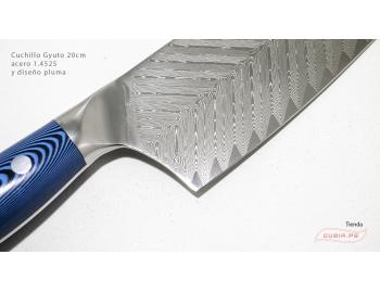GUB0074-Cuchillo Gyuto 21cm mango azul acero 1.4528+damasco pluma GUB0074-2.