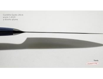GUB0074-Cuchillo Gyuto 21cm mango azul acero 1.4528+damasco pluma GUB0074-5.