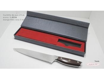 B27pan-Cuchillo de pan acero 1.4528 mango palo rosa 3 remaches B27pan B27pan-2.