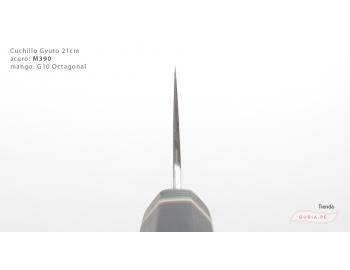 GUB0083-Cuchillo Gyuto 21 cm acero M390 mango G10 octagonal negro Italia GUB0083-2.