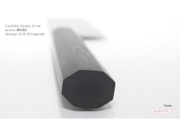GUB0083-Cuchillo Gyuto 21 cm acero M390 mango G10 octagonal negro Italia GUB0083-4.