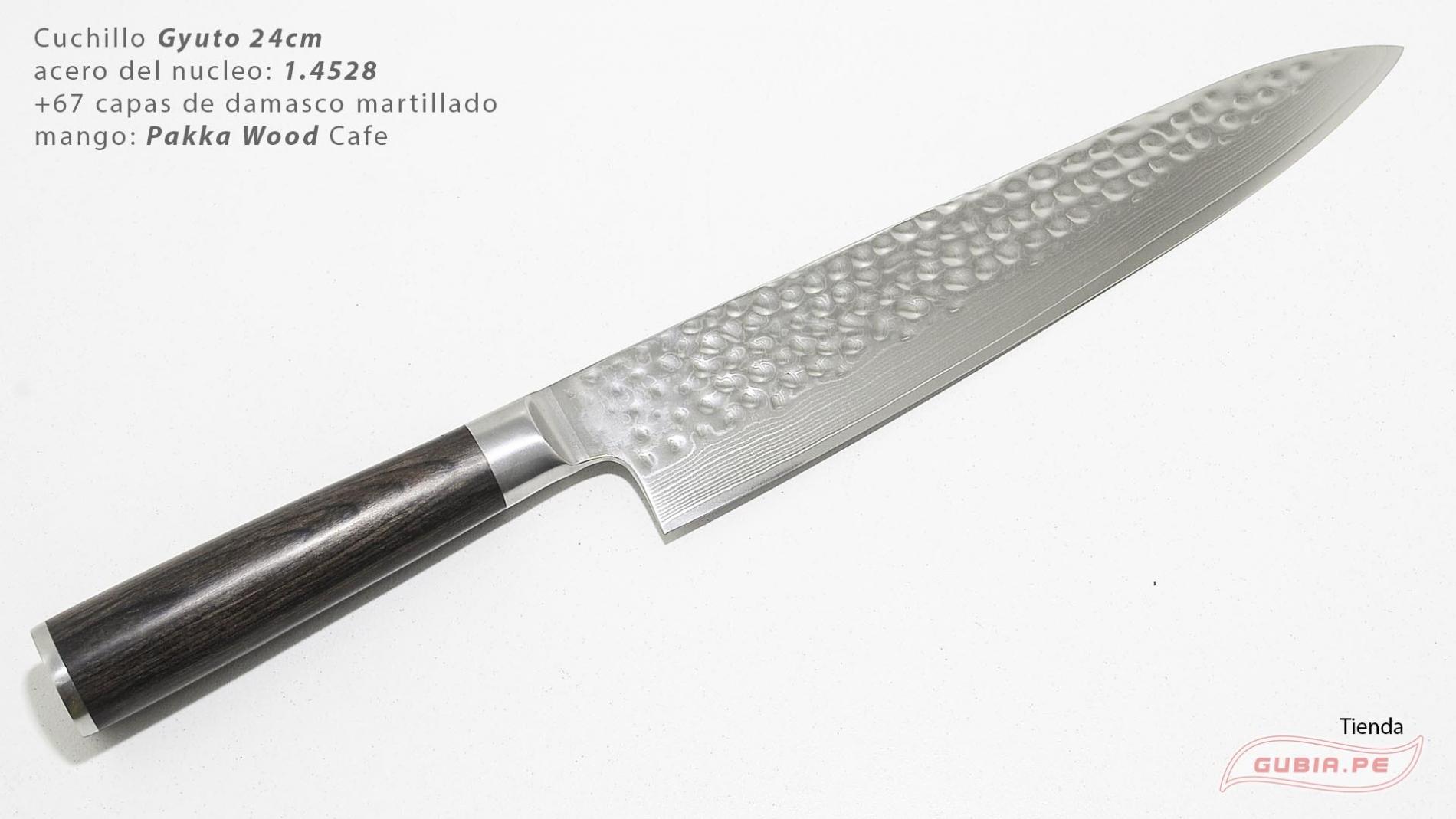 B1g24-Cuchillo Gyuto 24cm acero 1.4528+damasco Cafe B1g24-max-1.