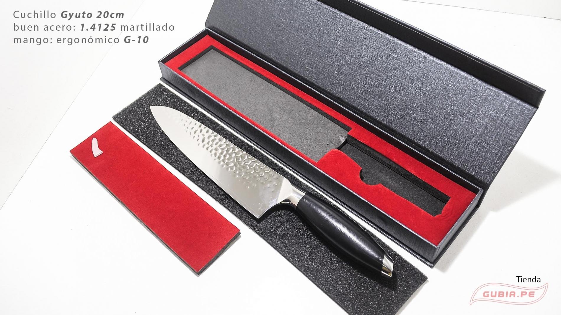 B12sG20-Cuchillo Gyuto 20cm acero 440c martillado B12sG20-max-8.