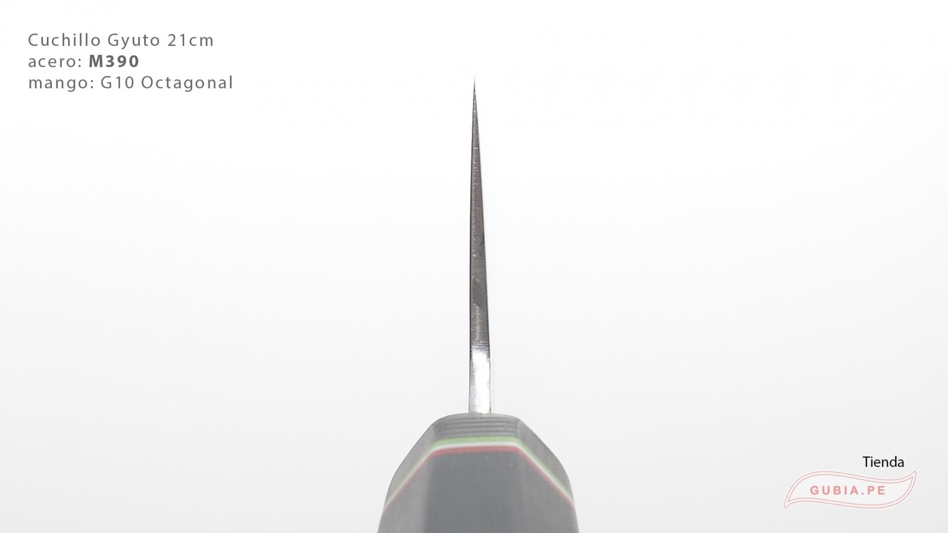 GUB0083-Cuchillo Gyuto 21 cm acero M390 mango G10 octagonal negro Italia GUB0083-max-2.