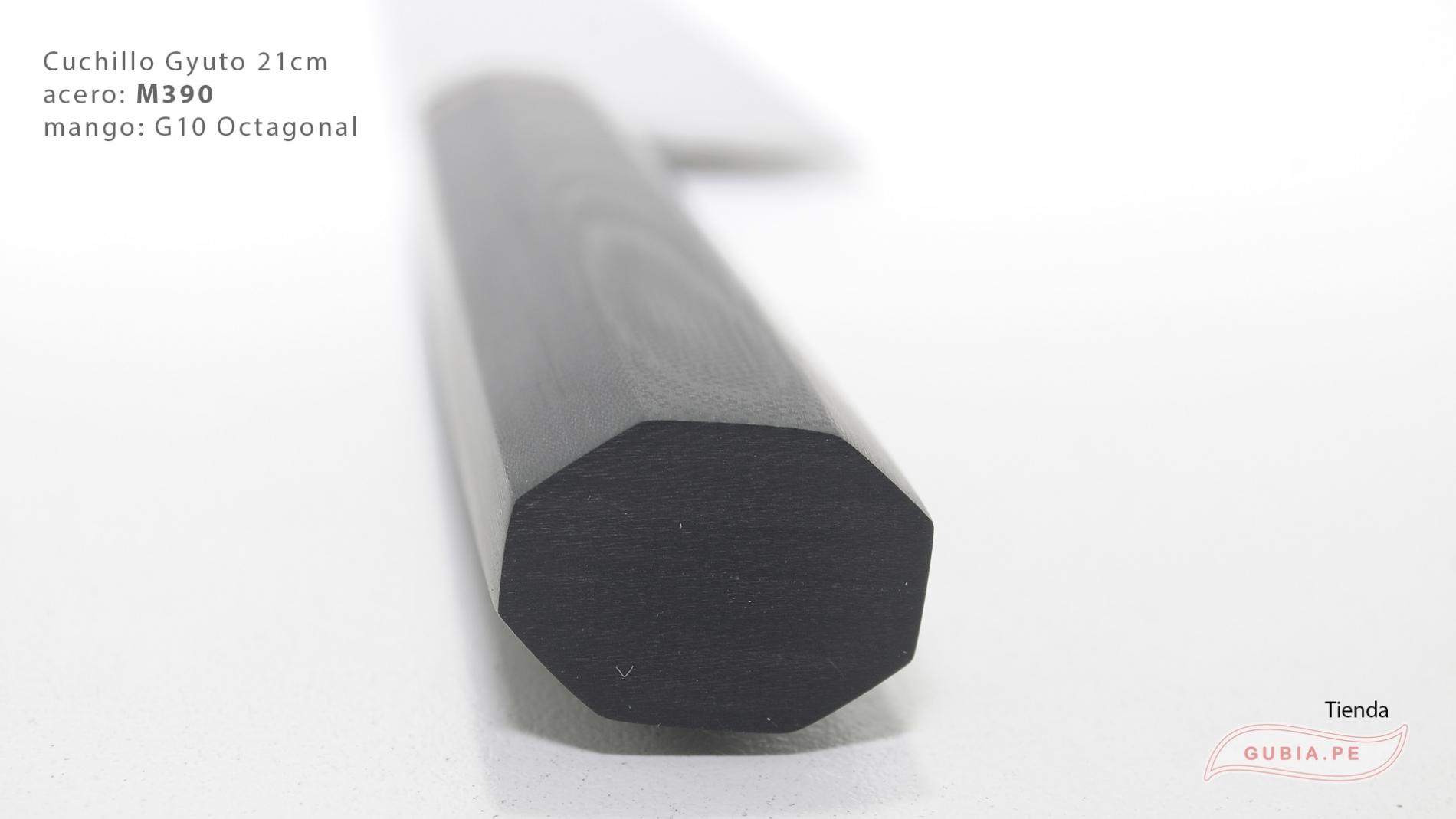 GUB0083-Cuchillo Gyuto 21 cm acero M390 mango G10 octagonal negro Italia GUB0083-max-4.