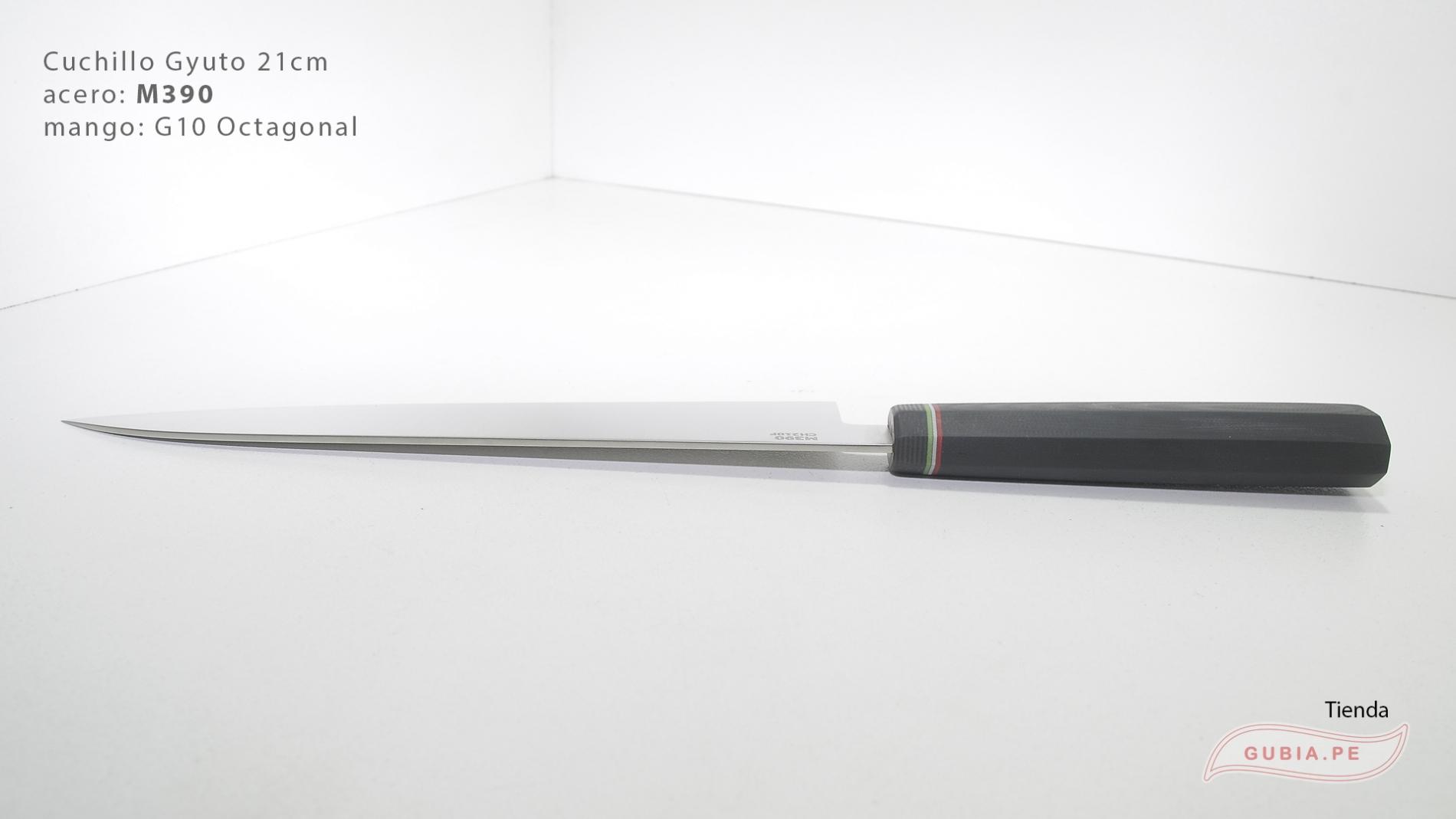 GUB0083-Cuchillo Gyuto 21 cm acero M390 mango G10 octagonal negro Italia GUB0083-max-6.