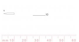 1/10-1/10, Pfeil, Gubia Recta corte 1, 10mm, doble bisel, plana.