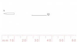 1/12-1/12, Pfeil, Gubia Recta corte 1, 12mm, doble bisel, plana.