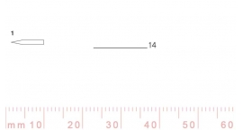 1/14-1/14, Pfeil, Gubia Recta corte 1, 14mm, doble bisel, plana.