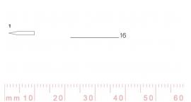 1/16-1/16, Pfeil, Gubia Recta corte #1, 16mm, doble bisel, plana.