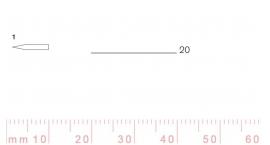 1/20-1/20, Pfeil, Gubia Recta corte 1, 20mm, doble bisel, plana.