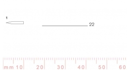1/22-1/22, Pfeil, Gubia Recta corte #1, 22mm, doble bisel, plana.