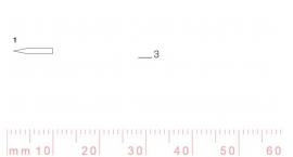 1/3-1/3, Pfeil, Gubia Recta corte 1, 3mm, doble bisel, plana.