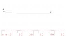 1/30-1/30, Pfeil, Gubia Recta corte 1, 30mm, doble bisel, plana.