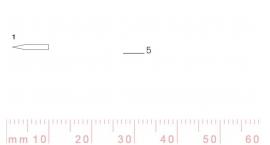 1/5-1/5, Pfeil, Gubia Recta corte 1, 5mm, doble bisel, plana.