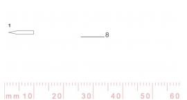 1/8-1/8, Pfeil, Gubia Recta corte 1, 8mm, doble bisel, plana.