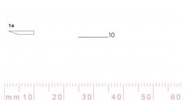 1/10e-1/10e, Pfeil, Gubia Recta corte #1e, 10mm, un bisel, plana.