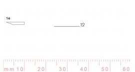 1/12e-1/12e, Pfeil, Gubia Recta corte #1e, 12mm, un bisel, plana.