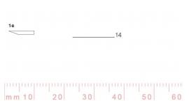 1/14e-1/14e, Pfeil, Gubia Recta corte #1e, 14mm, un bisel, plana.