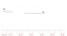 1/16e-1/16e, Pfeil, Gubia Recta corte #1e, 16mm, un bisel, plana.