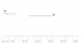 1/18e-1/18e, Pfeil, Gubia Recta corte #1e, 18mm, un bisel, plana.