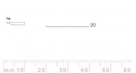 1/20e-1/20e, Pfeil, Gubia Recta corte #1e, 20mm, un bisel, plana.