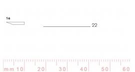 1/22e-1/22e, Pfeil, Gubia Recta corte #1e, 22mm, un bisel, plana.