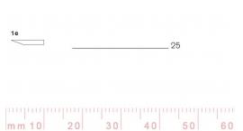 1/25e-1/25e, Pfeil, Gubia Recta corte #1e, 25mm, un bisel, plana.