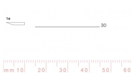 1/30e-1/30e, Pfeil, Gubia Recta corte #1e, 30mm, un bisel, plana.