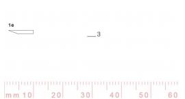 1/3e-1/3e, Pfeil, Gubia Recta corte #1e, 3mm, un bisel, plana.