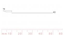 1/40e-1/40e, Pfeil, Gubia Recta corte #1e, 40mm, un bisel, plana.