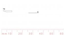 1/8e-1/8e, Pfeil, Gubia Recta corte #1e, 8mm, un bisel, plana.