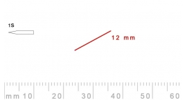 1s/12-1s/12, Pfeil, Gubia Recta corte 1s, 12mm, oblicua doble bisel, plana.
