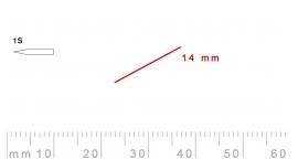 1s/14-1s/14, Pfeil, Gubia Recta corte 1s, 14mm, oblicua doble bisel, plana.