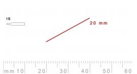 1s/20-1s/20, Pfeil, Gubia Recta corte 1s, 20mm, oblicua doble bisel, plana.