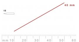 1s/40-1s/40, Pfeil, Gubia Recta corte 1s, 40mm, oblicua doble bisel, plana.