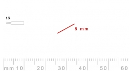 1s/8-1s/8, Pfeil, Gubia Recta corte 1s, 8mm, oblicua doble bisel, plana.