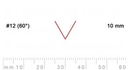 12/10-12/10, Pfeil, Gubia Recta  en V corte 12 (60°), 10mm, pico de gorrión.