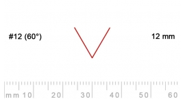 12/12-12/12, Pfeil, Gubia Recta  en V corte 12 (60°), 12mm, pico de gorrión.