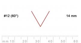 12/14-12/14, Pfeil, Gubia Recta  en V corte 12 (60°), 14mm, pico de gorrión.