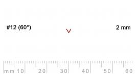 12/2-12/2, Pfeil, Gubia Recta  en V corte 12 (60°), 2mm, pico de gorrión.