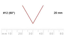 12/20-12/20, Pfeil, Gubia Recta  en V corte 12 (60°), 20mm, pico de gorrión.
