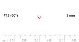12/3-12/3, Pfeil, Gubia Recta  en V corte 12 (60°), 3mm, pico de gorrión.