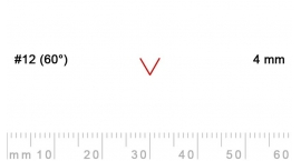 12/4-12/4, Pfeil, Gubia Recta  en V corte 12 (60°), 4mm, pico de gorrión.