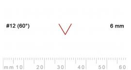12/6-12/6, Pfeil, Gubia Recta  en V corte 12 (60°), 6mm, pico de gorrión.